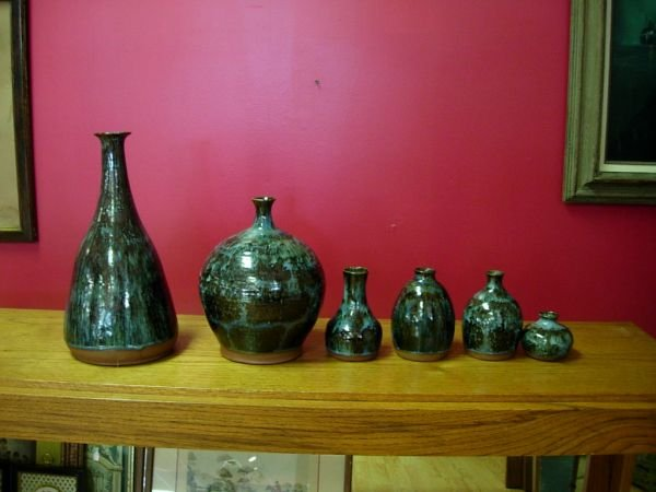 271: 6 MATCHING HAND THROWN ART POTTERY VASES