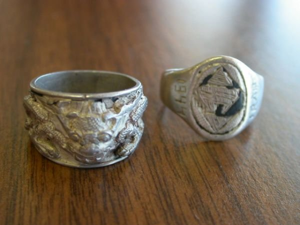 270: WWII PACIFIC THEATER SILVER RING LOT 2 IRAQ DRAGON