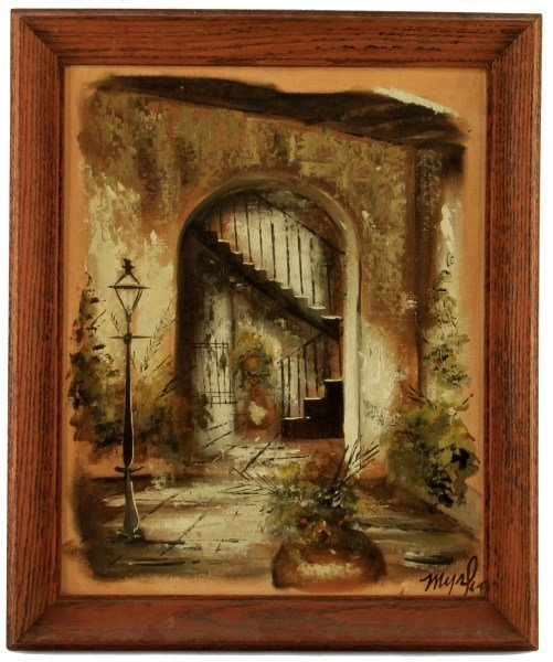 OIL ON BOARD PANEL SIGNED 1964 COURTYARD ENTRYWAY