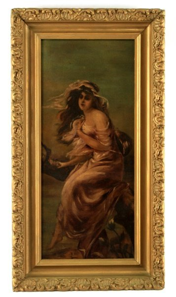 ORIGINAL 20TH C. OIL ON PANEL PAINTING OF A DRYAD
