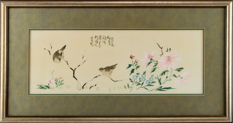 JAPANSES SCROLL BIRD GOUACHE PAINTING 32 BY 17