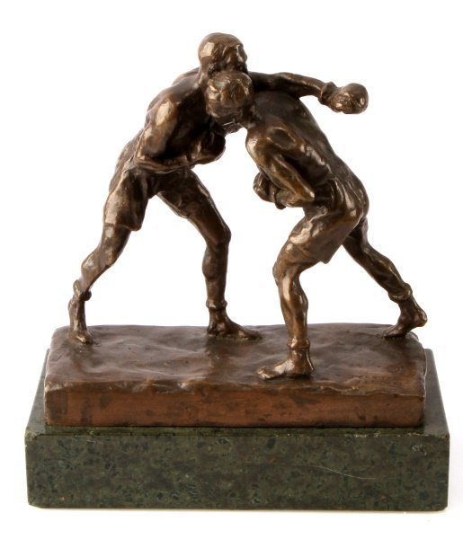 BRONZE SCULPTURE OF TWO BOXERS BY LESTER LLOYD