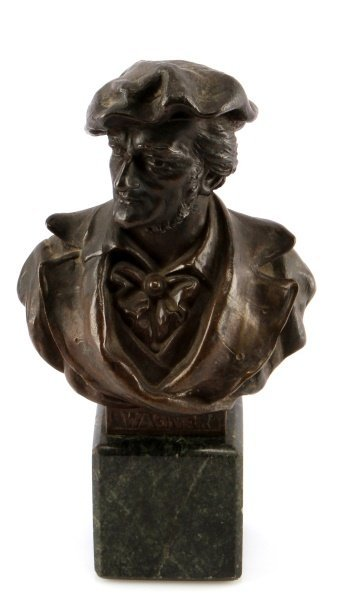 BRONZE BUST OF RICHARD WAGNER 8.5 INCHES TALL