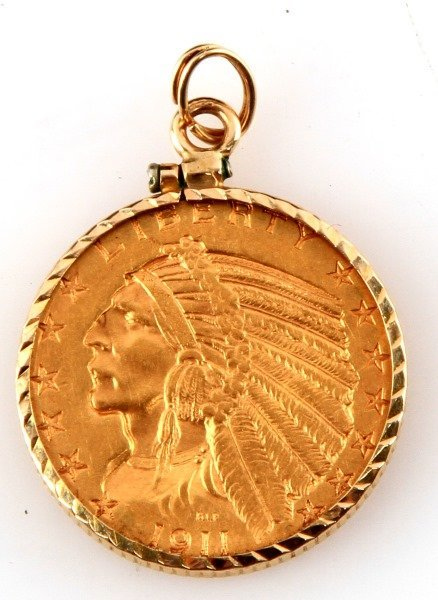 1911 GOLD INDIAN HALF EAGLE COIN IN NECKLACE BEZEL