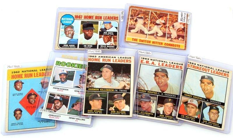SEVEN TOPPS BASEBALL CARDS MANTLE HOME RUN LEADERS