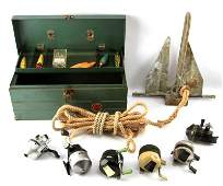 TACKLE BOX LURES FISHING REELS AND FLUKE ANCHOR
