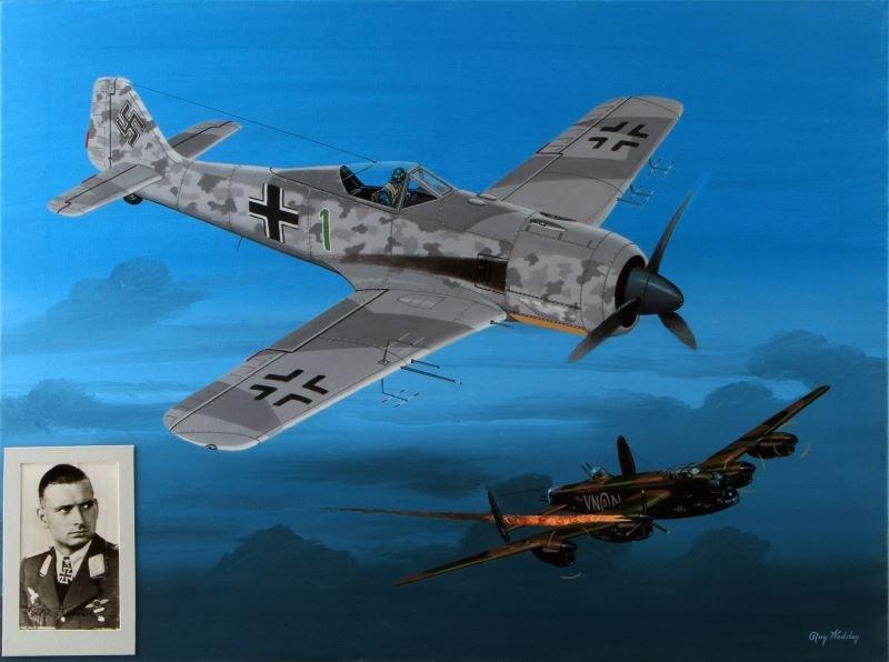 HERRMANN FW-190 BOMBER KILL RAY WADDEY PAINTING