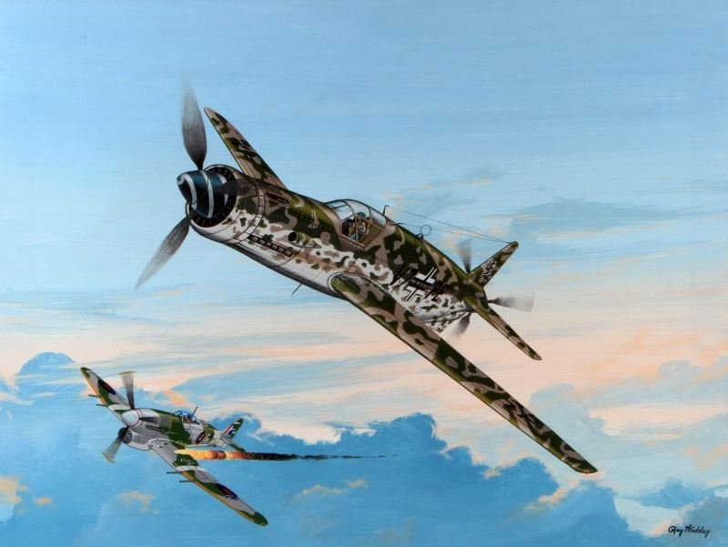 DORNIER TAKES OUT TYPHOON RAY WADDEY PAINTING