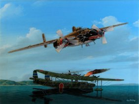 B-25 Low Pass Over Flying Boat Ray Waddey Painting