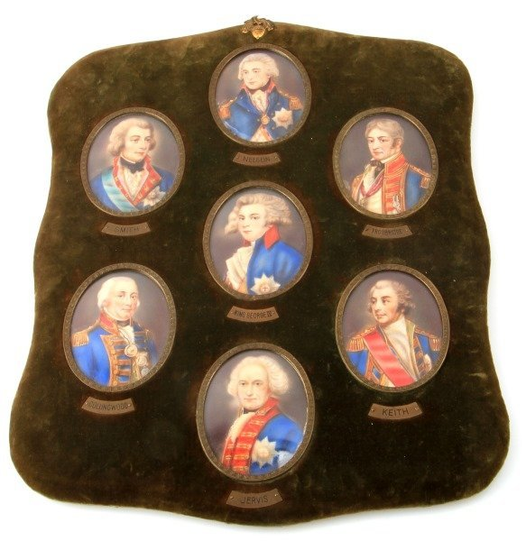 EARLY 19TH C BRITISH NAVY ADMIRALS PORTRAITS IVORY