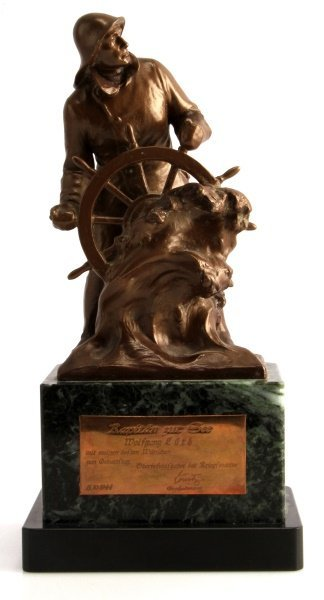 BRONZE GIVEN TO WOLFGANG LUTH BY KARL DONITZ
