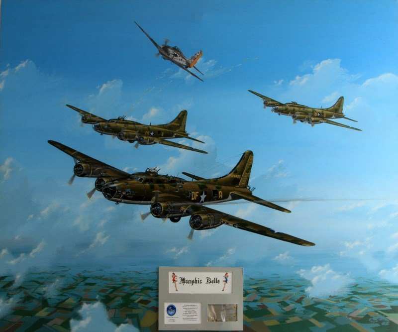 MEMPHIS BELL UNDER ATTACK BY FW-190 BY RAY WADDEY