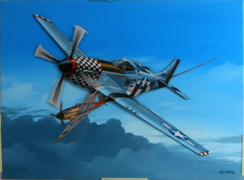 P51D SHOOTING DOWN AN ME-109G-6 BY RAY WADDEY