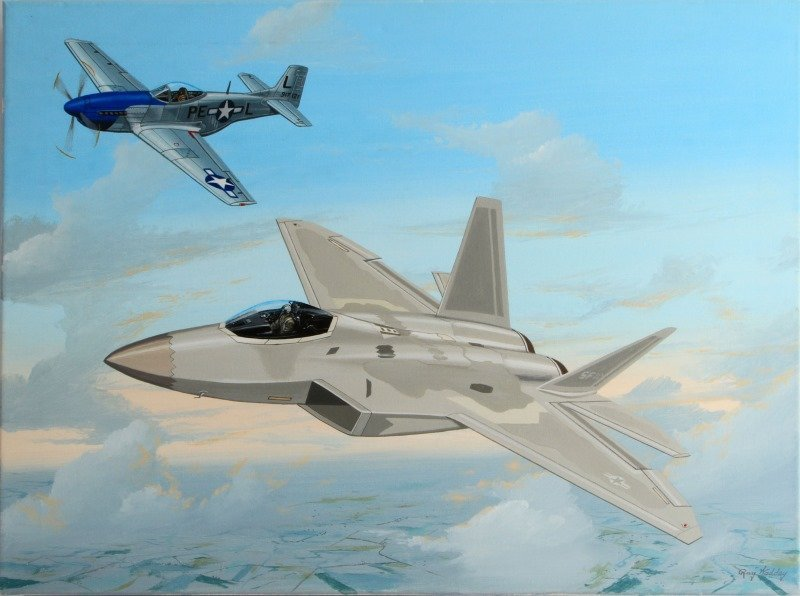 P-51D AND AN F/A-22 HERITAGE FLGIHT BY RAY WADDEY