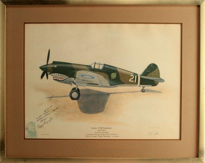 JOHN FICKLIN PAPPY BOYNTON SIGNED CURTIS P-40 ART