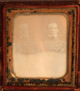Rare Daguerreotype Vmi Twin Cadets In Iniform