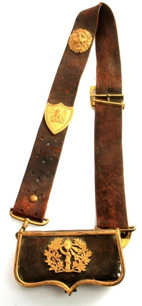 French Napoleanic War Officer Cartridge Belt &case
