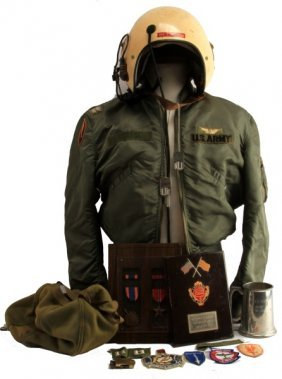 Vietnam Pilot Medals Aph-5 Helmet & Flight Jacket