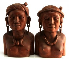 Pair Of Wood Carvings Depicting Igorot Couple