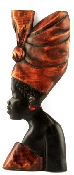 African Ghanaian Carved Wood Profile Of A Woman