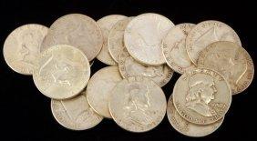 $8 Face Value 90% Silver Franklin Half Dollars