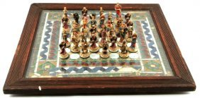 Handmade Stained Glass Chess Board In Frame
