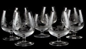 8 Etched Wild Game 3 Inch Brandy Snifter Lot