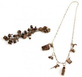 Ladies Vintage Silver Charm Bracelet And Necklace