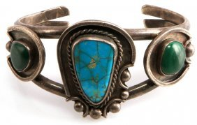 Silver Cuff Bracelet Turquoise & Malachite