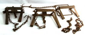 3 Vintage Medium Game Animal Traps Complete Chain