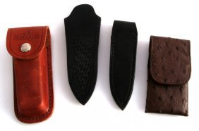 Lot Of Four Leather Knife Belt Cases And Sheaths