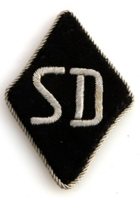 Wwii Third Reich German Sd Sleeve Patch W/ Piping