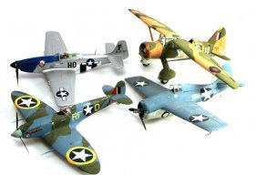 Lot Of Four British And American Wwii Plane Models
