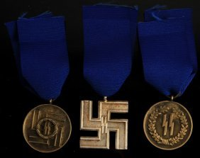 3 German Wwii Ss Long Service Medals