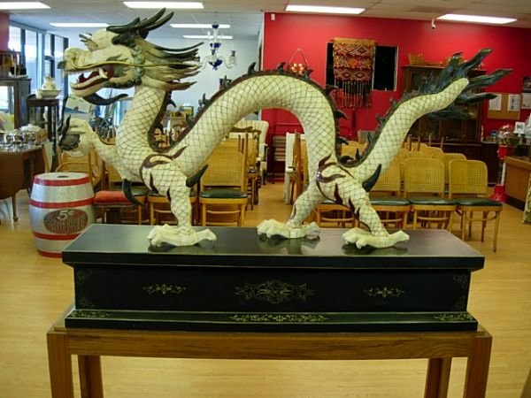 205: RARE HUGE ANTIQUE CHINESE DRAGON JEWELED
