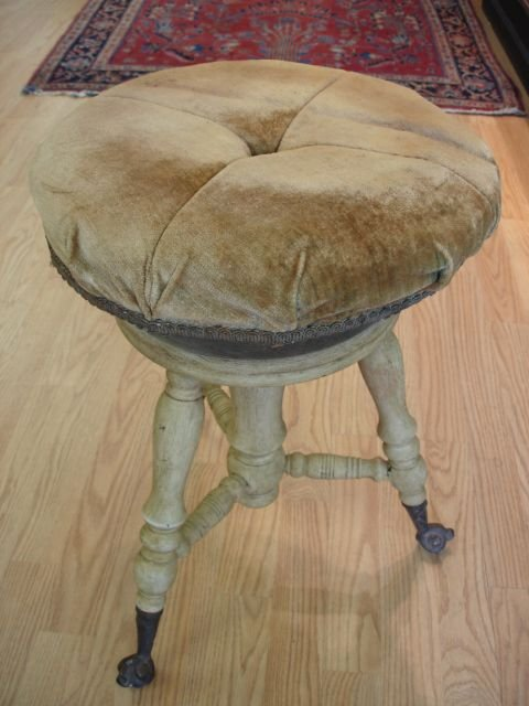 12: ANTIQUE EARLY 19TH CENTURY HORSE HAIR PIANO STOOL