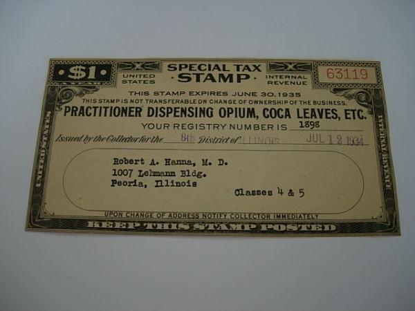 19: COCA LEAVES OPIUM TAX STAMP 1934 UNITED STATES
