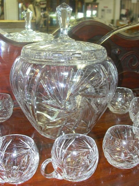 453: ANTIQUE CRYSTAL PUNCH BOWL W LID LADLE & 10 CUPS - 2