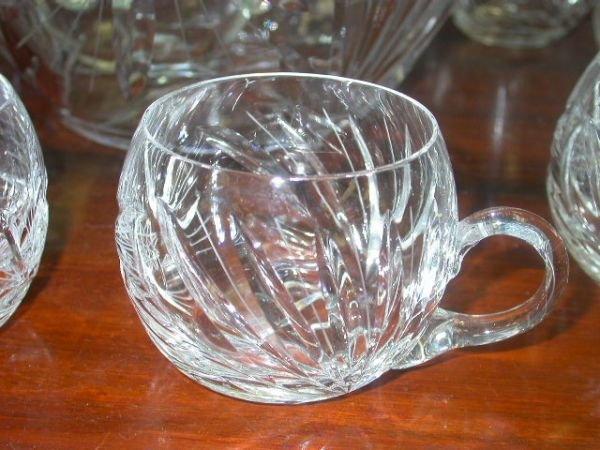 453: ANTIQUE CRYSTAL PUNCH BOWL W LID LADLE & 10 CUPS - 4