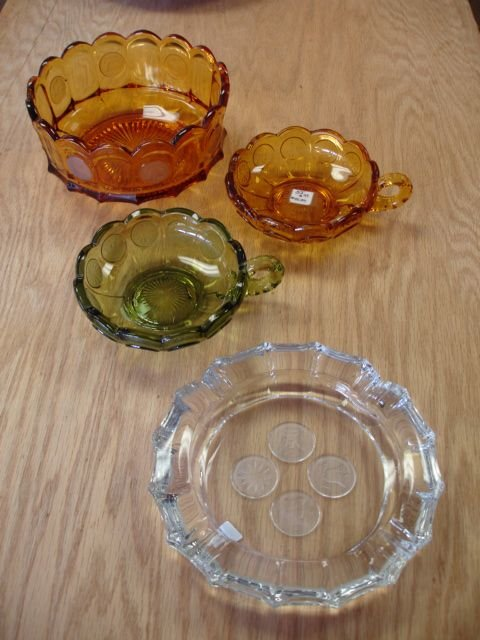 251: AMBER GREEN COIN GLASS NAPPY DISH ASHTRAY LOT OF 4