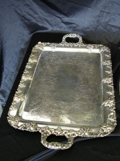 268: LARGE GRAPE VINE WREATHED HANDLED SILVER TRAY