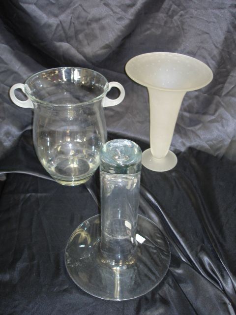 253: BLENKO FROSTED GLASS CRYSTAL VASE LOT OF 3