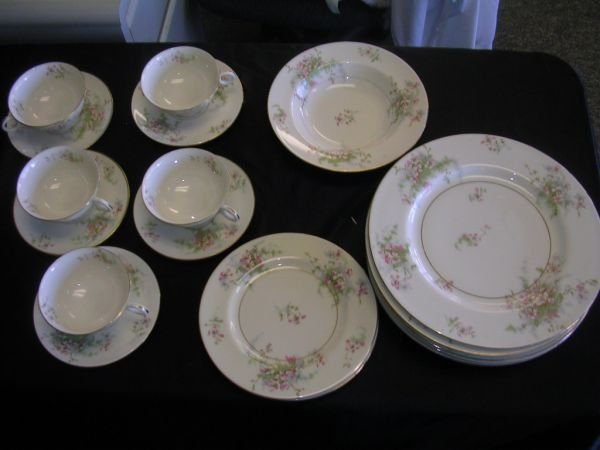 261: HAVILAND APPLE BLOSSOM CHINA LOT  OF 22 PLATE CUP