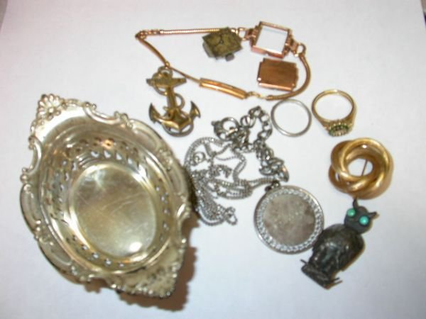 263: ANTIQUE SCRAP LOT OF STERLING SILVER AND GOLD