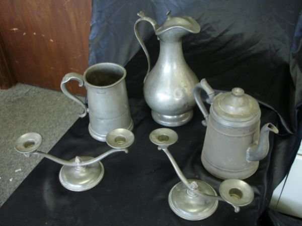 274: ANTIQUE PEWTER LOT OF 5  JAMES DIXON MARION K DUNH