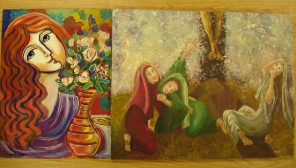 270: ACRYLIC PAINTING LOT OF 2 SIGNED HUNT KADER