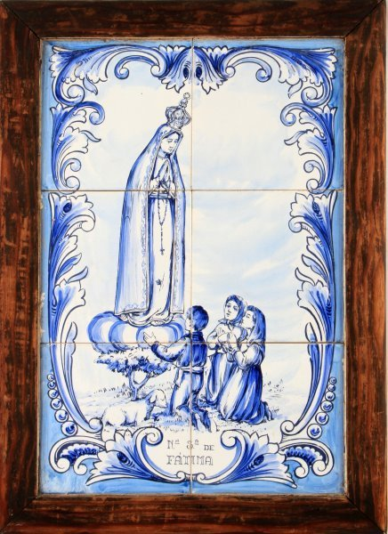 ANTIQUE OUR LADY OF FATIMA  FRAMED 6 TILE MURAL