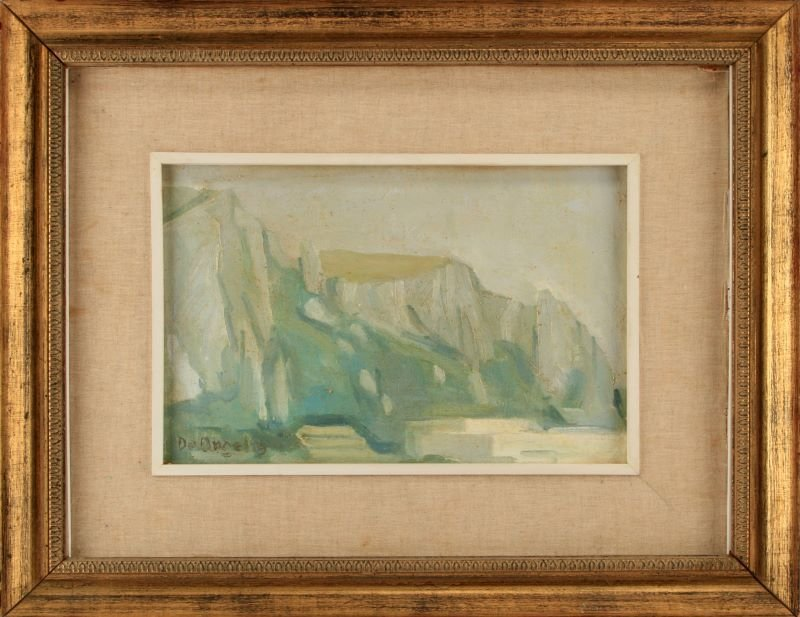 DE ANGELIS SIGNED OIL OF THE ROCK OF GIBRALTAR