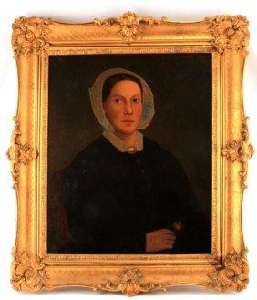 19th Century Female Portrait Oil Painting Canvas