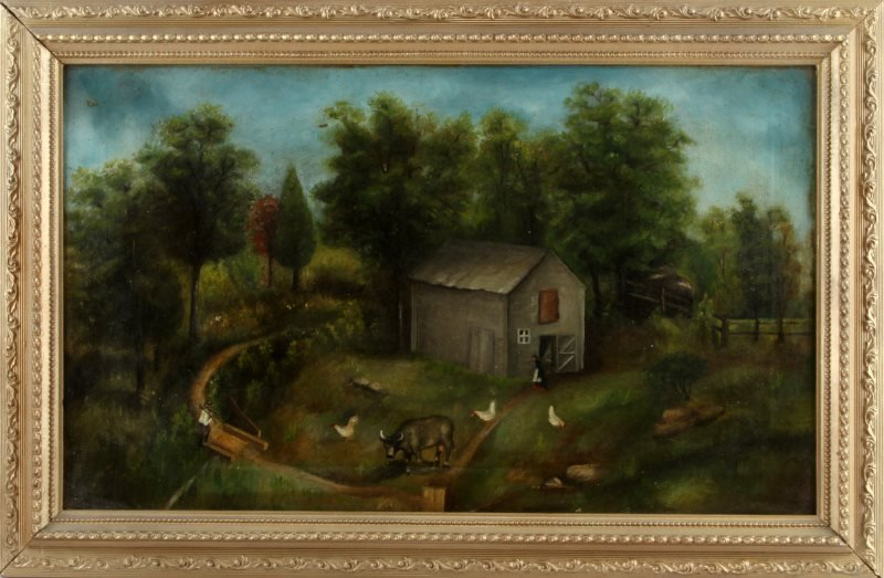 19TH CENTURY AMERICAN PRIMITIVE PAINTING OIL